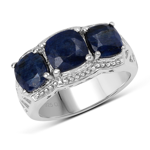 Sapphire-5.24 Carat Dyed Sapphire .925 Sterling Silver Ring