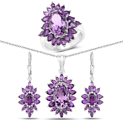 """14.28 Carat Genuine Amethyst .925 Sterling Silver 3 Piece Jewelry Set (Ring, Earrings, and Pendant w/ Chain)"""