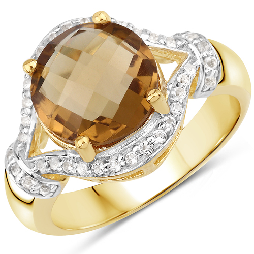 Rings-14K Yellow Gold Plated 2.99 Carat Genuine Champagne Quartz and White Topaz .925 Sterling Silver Ring