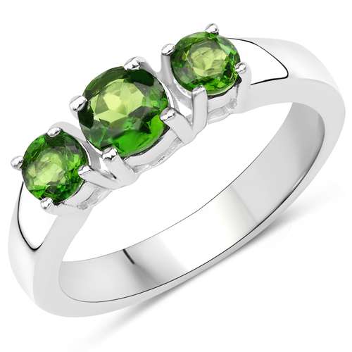 Rings-1.06 Carat Genuine Chrome Diopside .925 Sterling Silver Ring