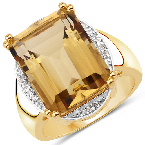 Rings-14K Yellow Gold Plated 11.31 Carat Genuine Champagne Quartz and White Topaz .925 Sterling Silver Ring