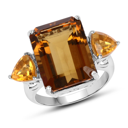 Rings-12.30 Carat Genuine Champagne Quartz and Citrine .925 Sterling Silver Ring