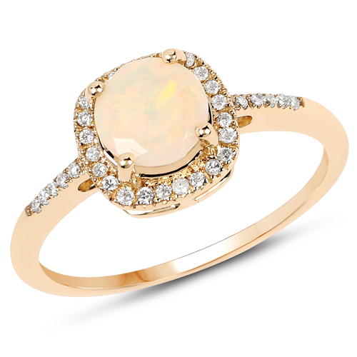 Opal-0.60 Carat Genuine Ethiopian Opal and White Diamond 14K Yellow Gold Ring