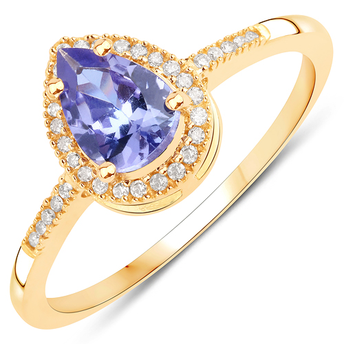 Tanzanite-0.75 Carat Genuine Tanzanite and White Diamond 14K Yellow Gold Ring