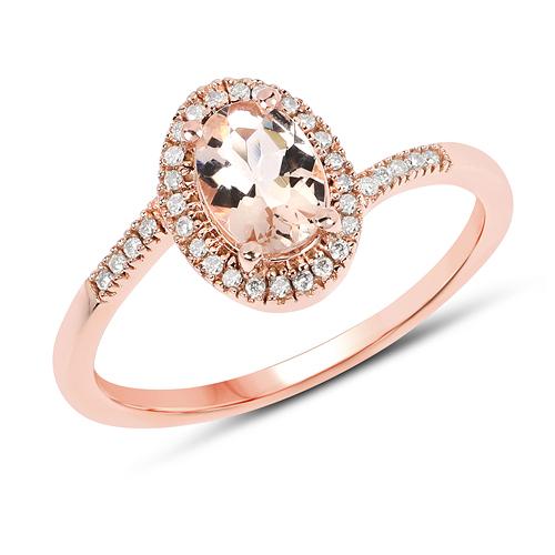 0.80 Carat Genuine Morganite and White Diamond 14K Rose Gold Ring