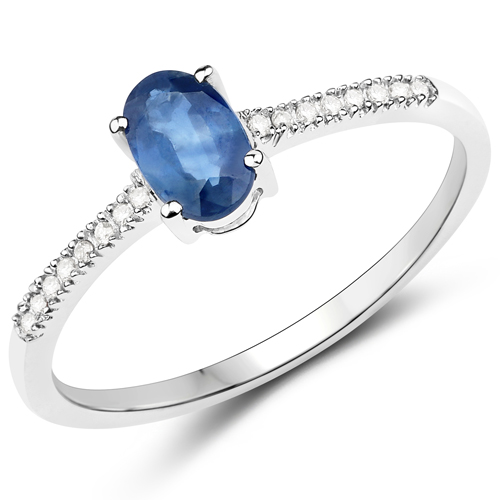 Sapphire-0.53 Carat Genuine Blue Sapphire and White Diamond 14K White Gold Ring