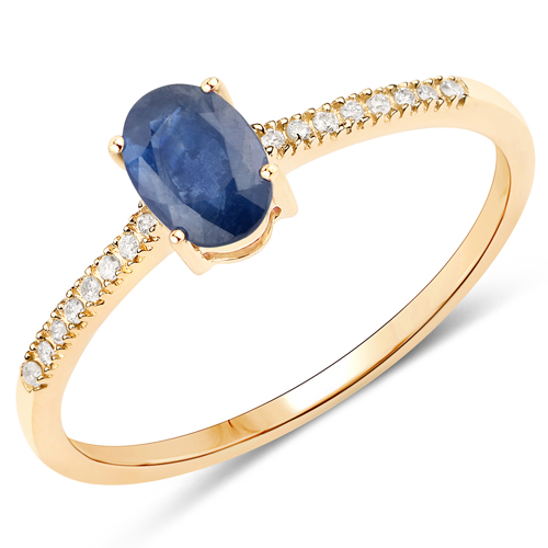 Sapphire-0.53 Carat Genuine Blue Sapphire and White Diamond 14K Yellow Gold Ring