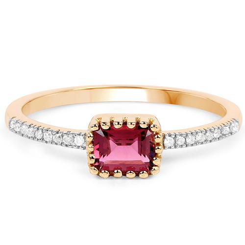0.65 Carat Genuine Pink Tourmaline and White Diamond 14K Yellow Gold Ring