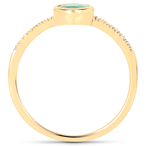 0.77 Carat Genuine Zambian Emerald and White Diamond 14K Yellow Gold Ring