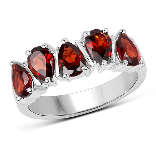 Garnet-2.25 Carat Genuine  Garnet .925 Sterling Silver Ring