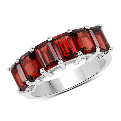 Garnet-4.80 Carat Genuine Garnet .925 Sterling Silver Ring
