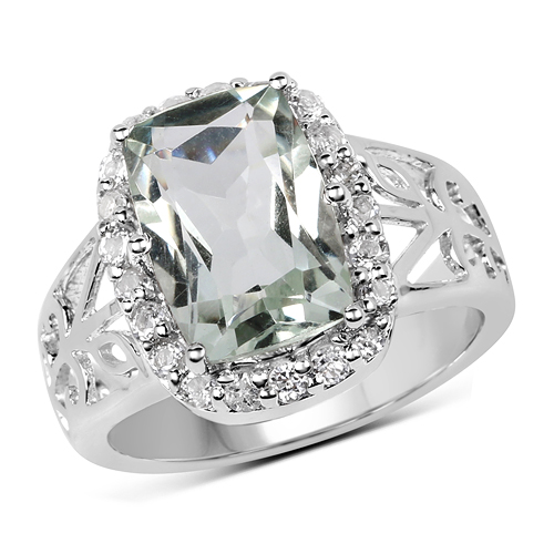 Amethyst-3.94 Carat Genuine Green Amethyst and White Topaz .925 Sterling Silver Ring
