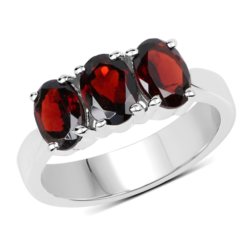 Garnet-2.85 Carat Genuine Garnet .925 Sterling Silver Ring