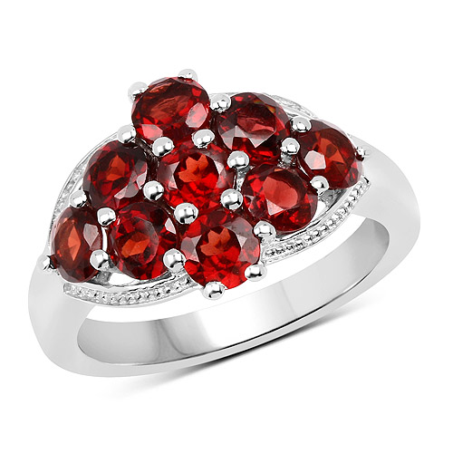 Garnet-2.88 Carat Genuine  Garnet .925 Sterling Silver Ring