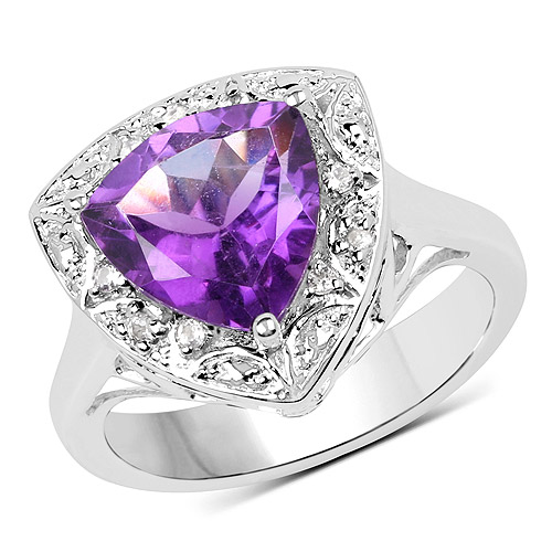 Amethyst-2.84 Carat Genuine Amethyst and White Topaz .925 Sterling Silver Ring
