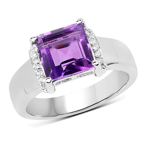 Amethyst-2.55 Carat Genuine Amethyst and White Topaz .925 Sterling Silver Ring