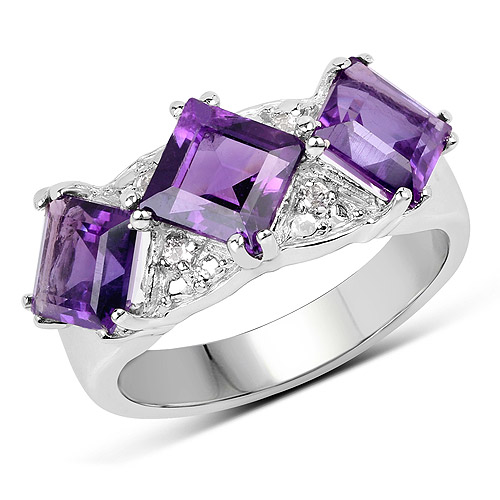 Amethyst-3.09 Carat Genuine Amethyst and White Topaz .925 Sterling Silver Ring