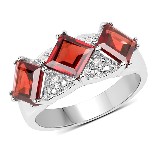 Garnet-3.84 Carat Genuine Garnet & White Topaz .925 Sterling Silver Ring