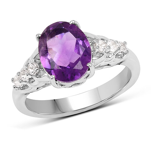 Amethyst-2.44 Carat Genuine Amethyst and White Topaz .925 Sterling Silver Ring