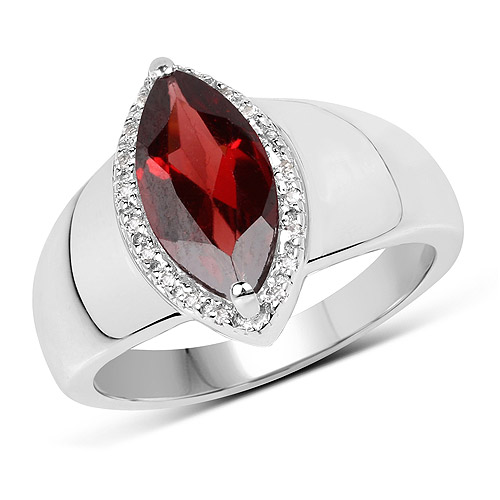 Garnet-2.06 Carat Genuine  Garnet and White Topaz .925 Sterling Silver Ring