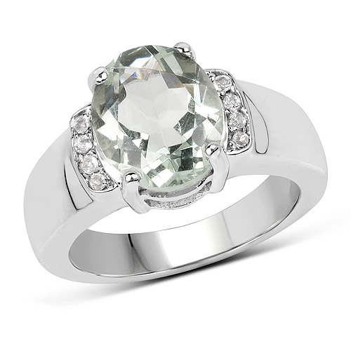 Amethyst-3.27 Carat Genuine Green Amethyst and White Topaz .925 Sterling Silver Ring