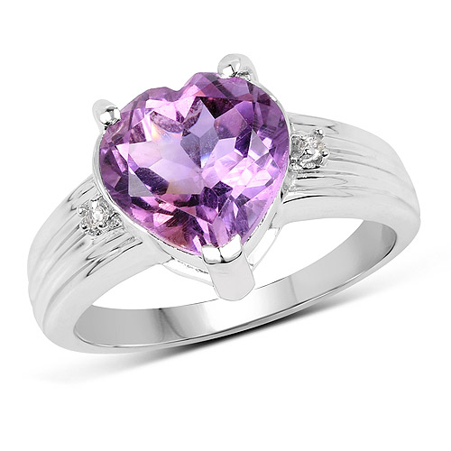 Amethyst-3.03 Carat Genuine  Amethyst and White Topaz .925 Sterling Silver Ring