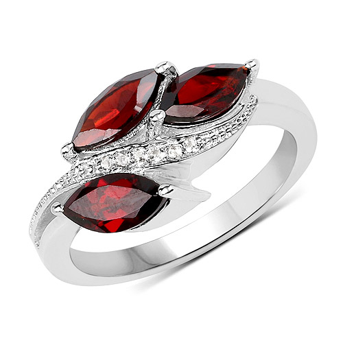 1.98 Carat Genuine  Garnet and White Topaz .925 Sterling Silver Ring