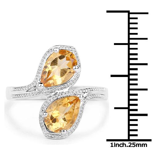 2.10 Carat Genuine Citrine .925 Sterling Silver Ring