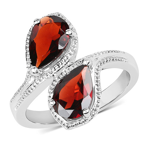 Garnet-2.60 Carat Genuine  Garnet .925 Sterling Silver Ring