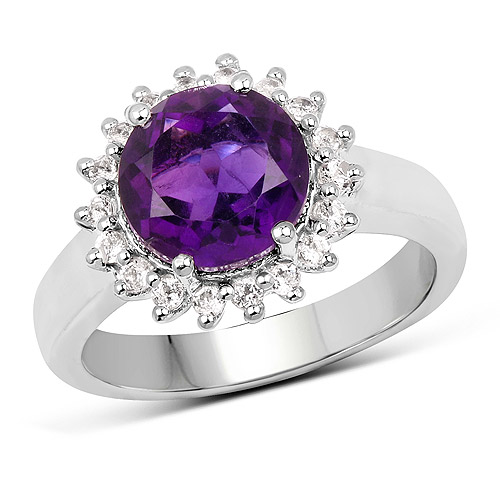 Amethyst-2.80 Carat Genuine Amethyst and White Topaz .925 Sterling Silver Ring