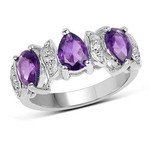 Amethyst-2.05 Carat Genuine Amethyst and White Topaz .925 Sterling Silver Ring