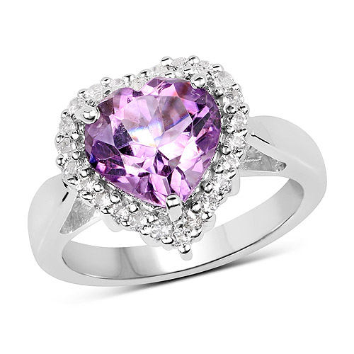 Amethyst-3.53 Carat Genuine  Amethyst and White Topaz .925 Sterling Silver Ring