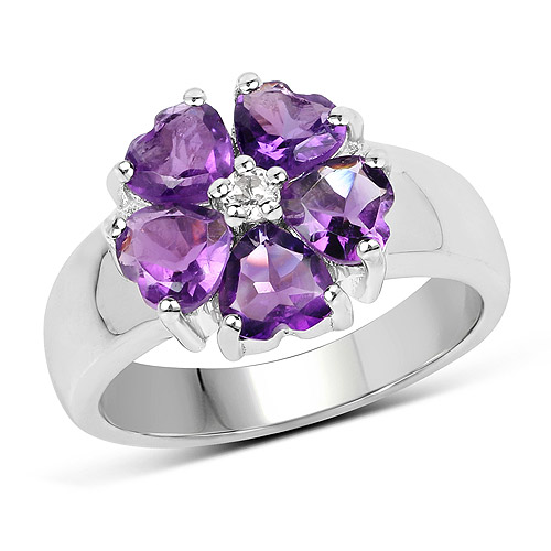 Amethyst-2.33 Carat Genuine Amethyst and White Topaz .925 Sterling Silver Ring