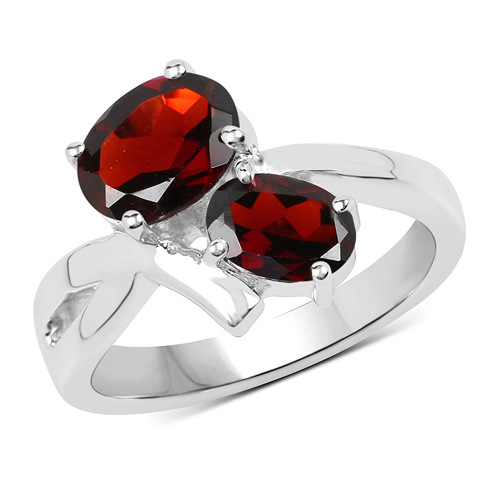 Garnet-2.55 Carat Genuine Garnet .925 Sterling Silver Ring