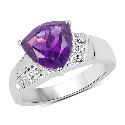 Amethyst-2.75 Carat Genuine Amethyst and White Topaz .925 Sterling Silver Ring