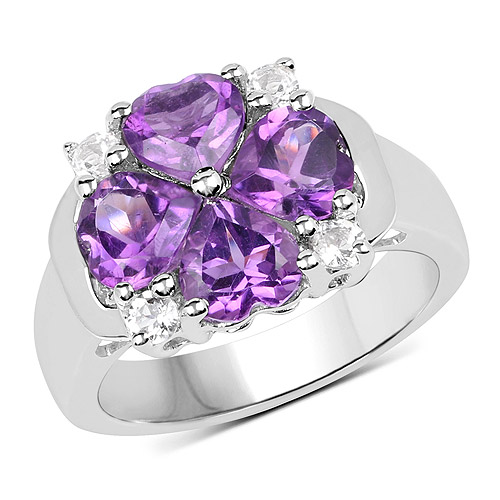 Amethyst-3.12 Carat Genuine Amethyst and White Topaz .925 Sterling Silver Ring