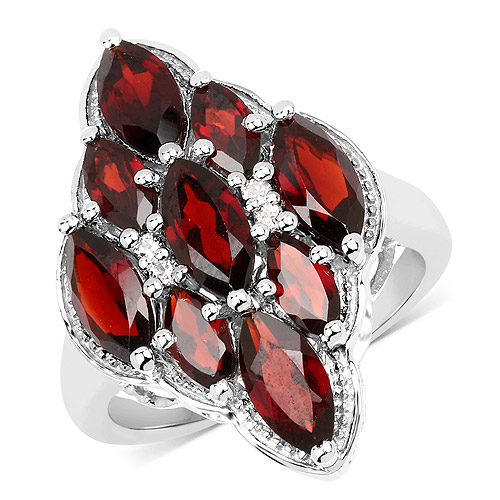 Garnet-4.49 Carat Genuine  Garnet and White Topaz .925 Sterling Silver Ring