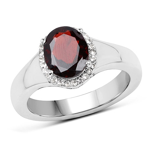 Garnet-2.63 Carat Genuine  Garnet and White Topaz .925 Sterling Silver Ring