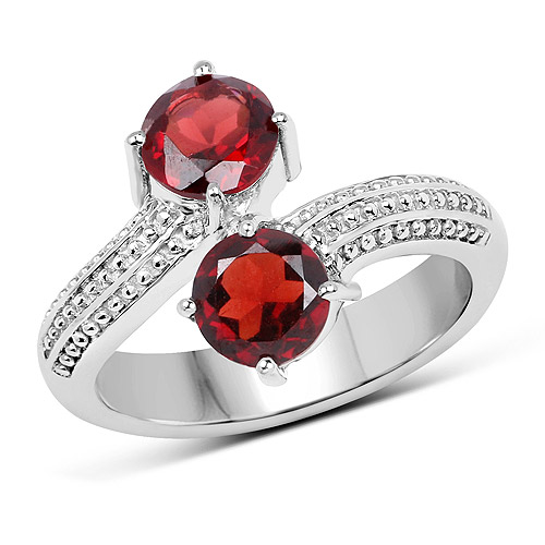 Garnet-1.80 Carat Genuine  Garnet .925 Sterling Silver Ring