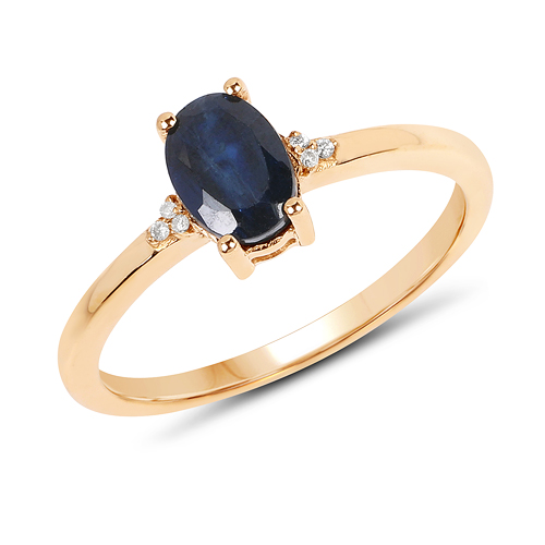 Sapphire-0.97 Carat Genuine Blue Sapphire and White Diamond 14K Yellow Gold Ring