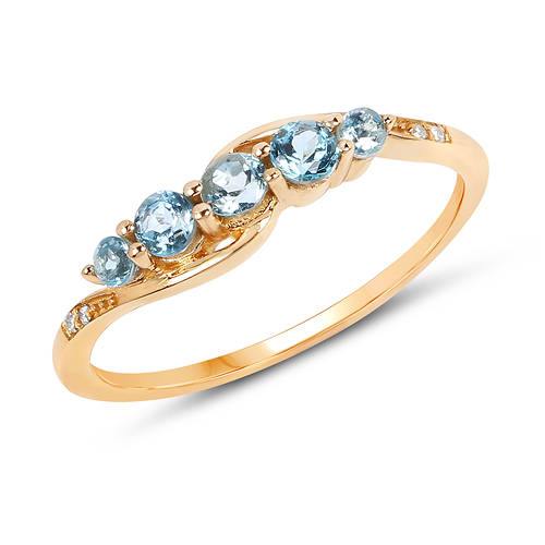 Rings-0.41 Carat Genuine Swiss Blue Topaz and White Diamond 14K Yellow Gold Ring