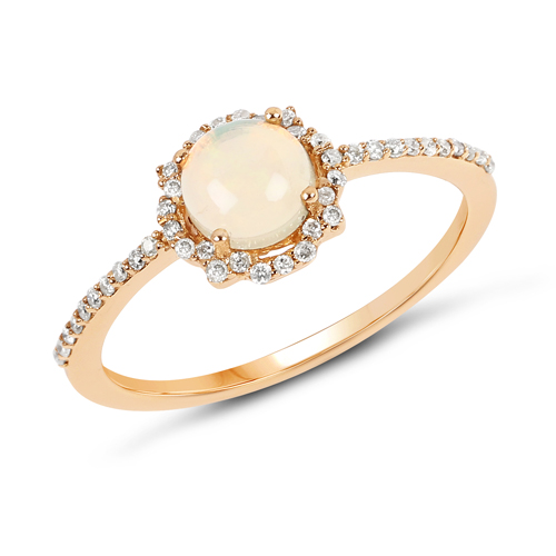 Opal-0.42 Carat Genuine Ethiopian Opal and White Diamond 14K Yellow Gold Ring