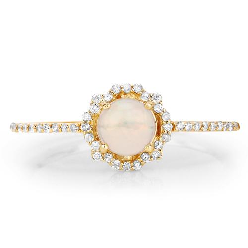 0.42 Carat Genuine Ethiopian Opal and White Diamond 14K Yellow Gold Ring