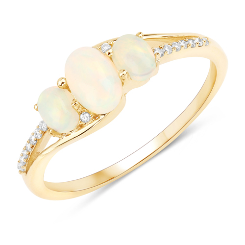 Opal-0.56 Carat Genuine Ethiopian Opal and White Diamond 14K Yellow Gold Ring