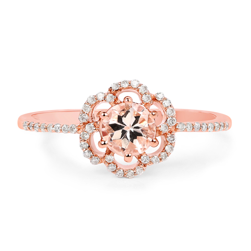 0.55 Carat Genuine Morganite and White Diamond 14K Rose Gold Ring