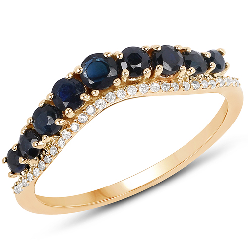 Sapphire-0.79 Carat Genuine Blue Sapphire and White Diamond 14K Yellow Gold Ring
