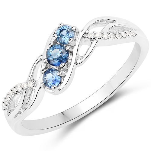 Sapphire-0.27 Carat Genuine Blue Sapphire and White Diamond 18K White Gold Ring