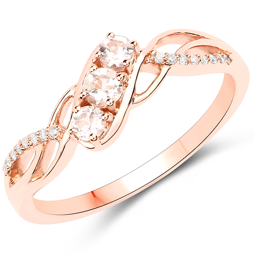 Rings-0.25 Carat Genuine Morganite and White Diamond 18K Rose Gold Ring