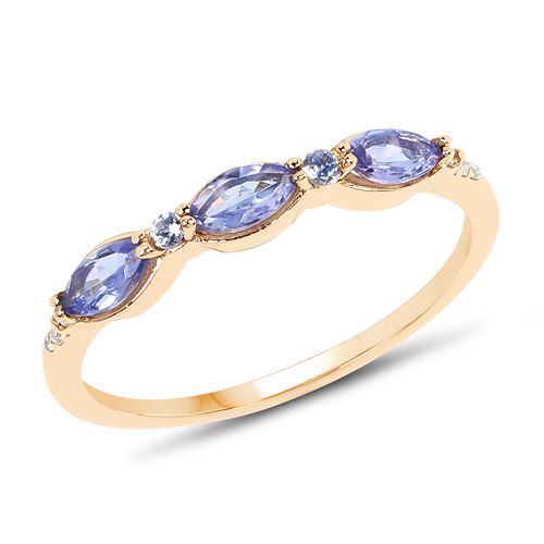 Tanzanite-0.48 Carat Genuine Tanzanite and White Diamond 14K Yellow Gold Ring