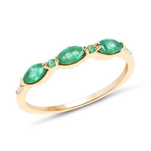 Emerald-0.39 Carat Genuine Zambian Emerald and White Diamond 14K Yellow Gold Ring